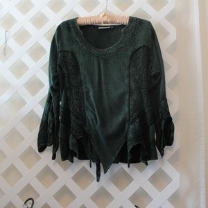 Braja Celtic Inspired Goddess Dark Green Blouse  M